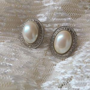 Vintage pearl & silver earrings